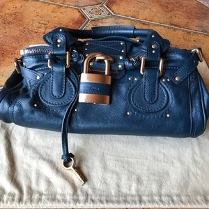 Chloe, Paddington Dark blue Leather Satchel, auth
